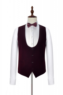 White Red Velvet Shawl Collar One Button UK Wedding Suit For Bestman | Latest Design Single Breasted Slim Fit Suit_6
