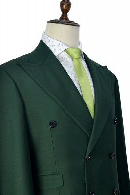 Green Double Breasted Tailored Suit UK For Formal | Peaked Lapel 3 Pockets Custom Made Causal Suit_6