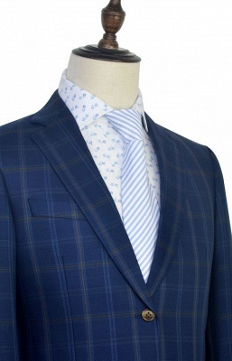 Dark Blue Wool Shawl Collar UK Wedding Suit For Bestman | New Arriving Single Breasted Tailor Made British Men Suit_6