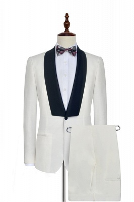 White Shawl Collar Single Breasted UK Wedding Suit | New Trendy 2 Pocket UK Custom Suit For Men
