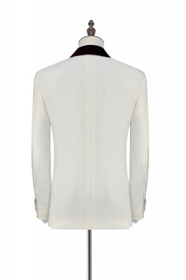 White Red Velvet Shawl Collar One Button UK Wedding Suit For Bestman | Latest Design Single Breasted Slim Fit Suit_4