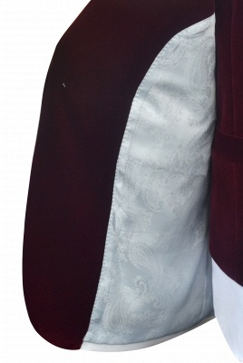 White Red Velvet Shawl Collar One Button UK Wedding Suit For Bestman | Latest Design Single Breasted Slim Fit Suit_8