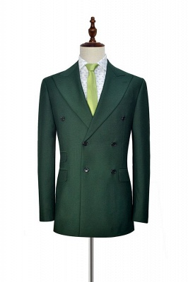 Green Double Breasted Tailored Suit UK For Formal | Peaked Lapel 3 Pockets Custom Made Causal Suit_3