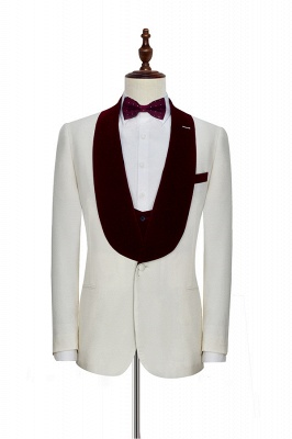 White Red Velvet Shawl Collar One Button UK Wedding Suit For Bestman | Latest Design Single Breasted Slim Fit Suit_3