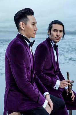 Purple Velvet Peak Lapel Custom UK Wedding Suit For Bestman | Modern Single Breasted One Button Formal British Men Suits UK
