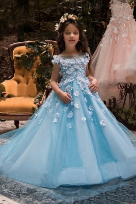 Wholesale Ice Blue UK Flower Girl Dress | Fabulous Tulle Square Neckline Tea-length Modest UK Flower Girl Dress