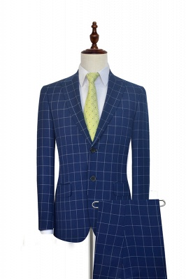 New Arrival Deep Blue Grid Wool Peak Lapel Custom Made Suit UK | Single Breasted Two Button Unique UK Wedding Suit For Bestman