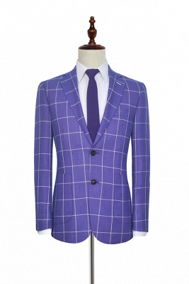 Bespoke Violet Purple Two Patch Pockets Custom Suit | Classic Single Breasted Peak Lapel Wedding Tuxedos For Bestman_3