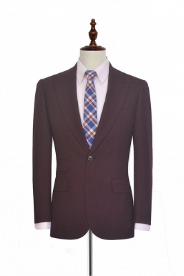 Dark Red Small grid Peak Lapel UK Custom Suit For Men | New Single Breasted One Button Groomsman Men Business Suit
