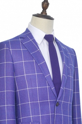 Bespoke Violet Purple Two Patch Pockets Custom Suit | Classic Single Breasted Peak Lapel Wedding Tuxedos For Bestman_6
