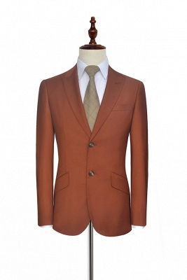 New Trendy Rust Red Two Button Custom Suit For Office | Single Breasted Peaked Lapel Tailoring Suit_3