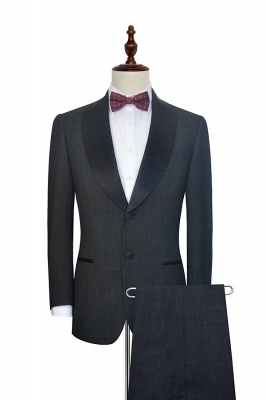 Dark Grey Black Shawl Lapel Two Bottons UK Wedding Suit For Bestman | Bespoke Single Breasted Tailored 2 Piece Suits
