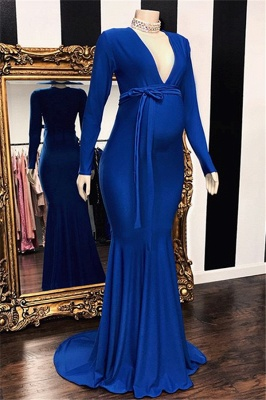 Glamorous Long-Sleeves V-Neck Pregnant Mermaid Bridesmaid Dresses UK