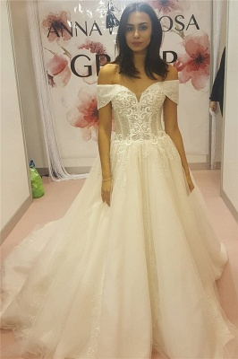 Off-the-Shoulder Sweetheart Sleeveless Appliques Long UK Wedding Dress