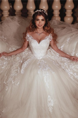 Tulle Lace Cap-Sleeves Sweetheart Puffy UK Wedding Dress