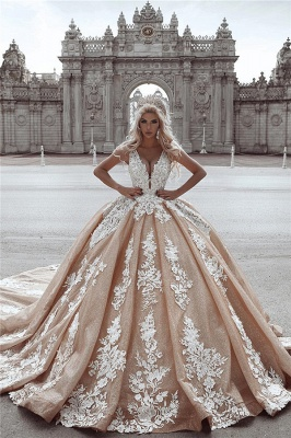 Sexy Deep-V-Neck Puffy Sleeveless Appliques UK Wedding Dress
