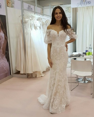 Tulle Lace Strapless Sweetheart Short-Sleeves Long UK Wedding Dress