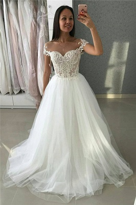 Simple Cute Tulle Appliques Cap-Sleeves UK Wedding Dress