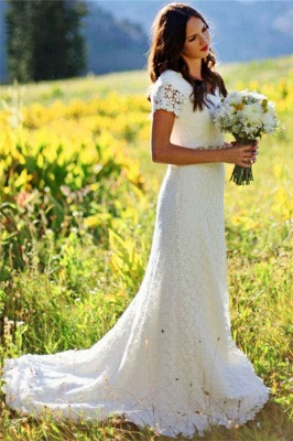 Elegant Lace Appliques Short-Sleeves Sheath UK Wedding Dress