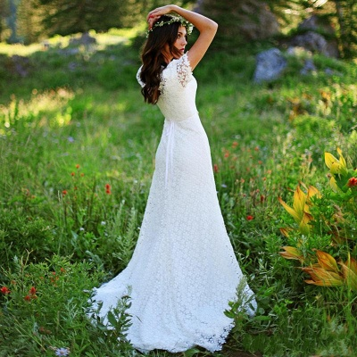 Elegant Lace Appliques Short-Sleeves Sheath UK Wedding Dress_4