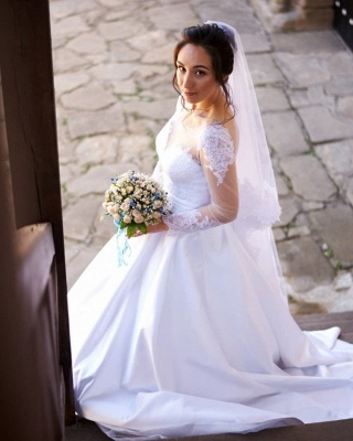 Chic Tulle Jewel Long-Sleeves Applqiues UK Wedding Dress with Pockets_3
