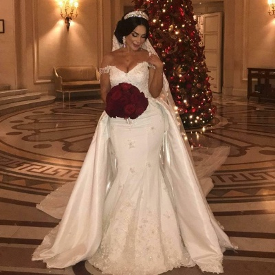 Off-the-Shoulder Sweetheart Tulle lace Appliques Long UK Wedding Dress with Detachable Train_2