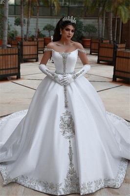 Puffy Off-the-Shoulder Sleeveless Appliques UK Wedding Dress
