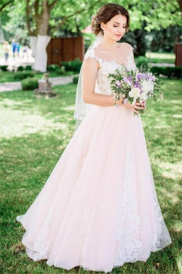 Tulle Lace Jewel Sleeveless Appliques UK Wedding Dress