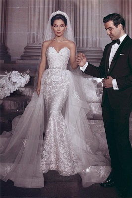 Stylish Strapless Sweetheart Tulle Appliques UK Wedding Dress