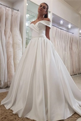 Simple Off-the-Shoulder Sweetheart Sleeveless Ruffles Long Satin UK Wedding Dress