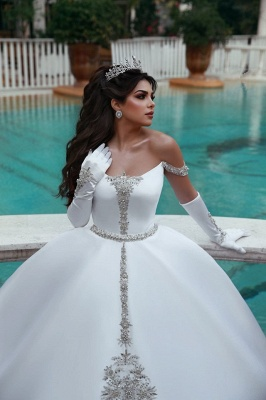 Puffy Off-the-Shoulder Sleeveless Appliques UK Wedding Dress_2