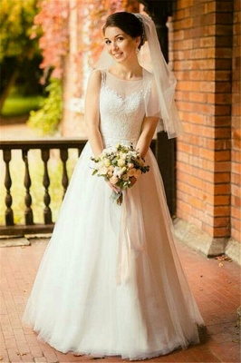 Jewel Sleeveless Tulle Lace Long UK Wedding Dress