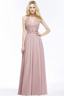 Summer V-neck Sleeveless Long Appliques Chiffon Bridesmaid Dresses UK_2