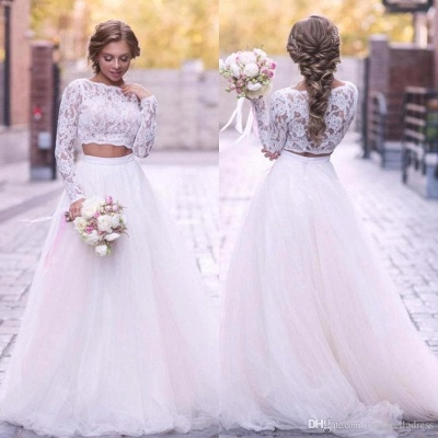 A Line Lace Wedding Dresess 2 Piece Tulle Bridal Gowns