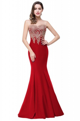 Sexy Trumpt Crew Illusion Plus size Long Sleeveless Burgundy Formal Dresses with Appliques_4