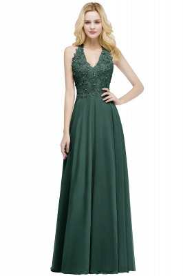 Summer V-neck Sleeveless Long Appliques Chiffon Bridesmaid Dresses UK_4