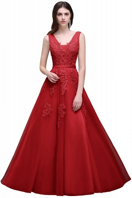 Summer Floor-length Tulle Bridesmaid Dress with Appliques_5