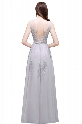 Summer Floor-length Tulle Bridesmaid Dress with Appliques_11