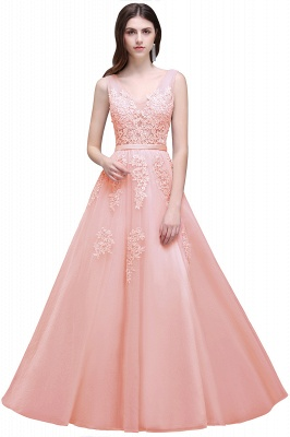 Summer Floor-length Tulle Bridesmaid Dress with Appliques_3