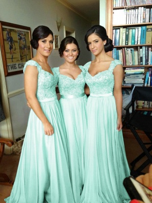 Summer V Neck Chiffon Bridesmaid Dress with Appliques_11