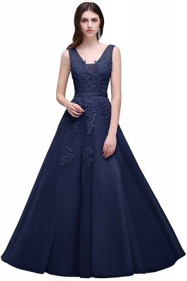 Summer Floor-length Tulle Bridesmaid Dress with Appliques_7