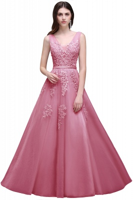 Summer Floor-length Tulle Bridesmaid Dress with Appliques_4