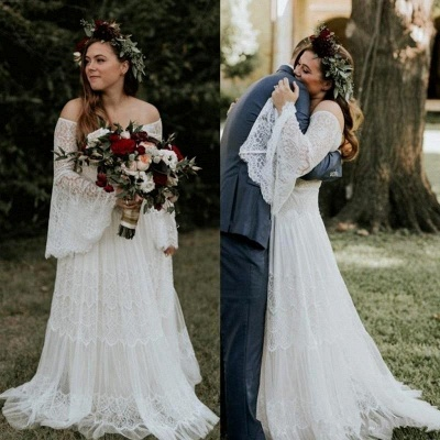 Dream Lace A Line Beach Wedding Dresses | Off The Shoulder Bridal Gown With Long Sleeve_2