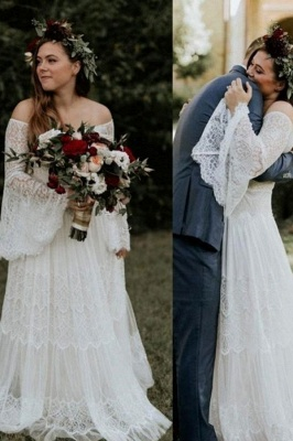 Dream Lace A Line Beach Wedding Dresses | Off The Shoulder Bridal Gown With Long Sleeve_1