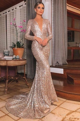 Champagne V Neck Long Sleeve Mermaid Prom Dresses | Sequin Backless Party Dresses
