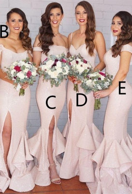 Modest Pink Sexy Trumpt Spaghetti Strap Bridesmaid Dress | Bridesmaid Dress Online_1