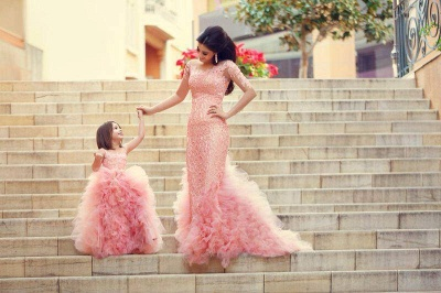 New Pink Chic Ruffles UK Flower Girl Dresses Puffy Sleeveless Formal Party Gowns_2