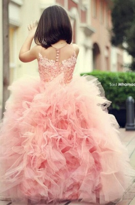 New Pink Chic Ruffles UK Flower Girl Dresses Puffy Sleeveless Formal Party Gowns_1