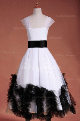 Cuty White UK Flower Girl Dresses Square Black Sash Tiered Ruffle Cute Floor Length Zipper Organza Pageant Dress_6