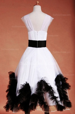 Cuty White UK Flower Girl Dresses Square Black Sash Tiered Ruffle Cute Floor Length Zipper Organza Pageant Dress_10